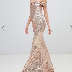 City Goddess Bardot Sequin Maxi Dress Size US 4